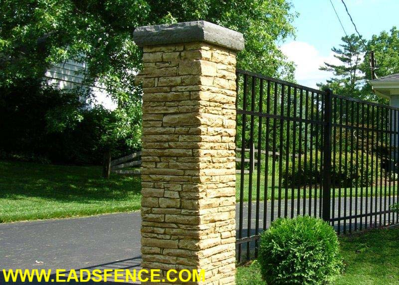 Cast Stone Column with SR-4 Aluminum Fencing