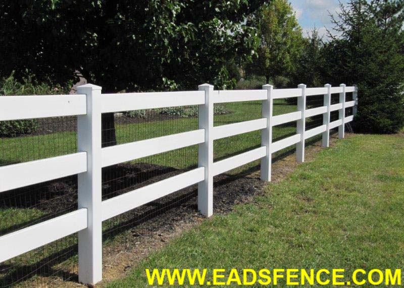 Vinyl 3 Rail Ranch Rail Fence