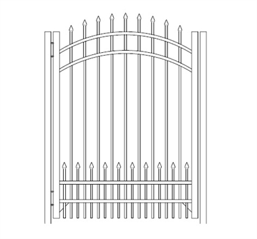 Picture of S1 Bennington with Doggie Panel Arched Walk Gate Drawing