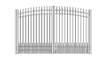 Picture of S1 Bennington with Doggie Panel Greenwich Arched Double Gates Drawing
