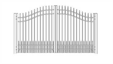 Picture of S1 Bennington with Doggie Panel Woodbridge Arched Double Gates Drawing